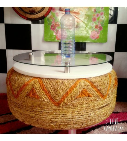 Round Afro Deco Glass and Acrylic Orange Rope Woven 4 stay Coffee Table (USD)