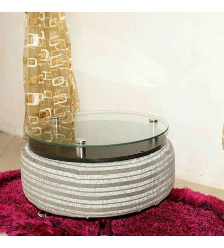 Round Afro Deco Glass Plate Aluminium and Acrylic White Dyed Material 4 stay Coffee Table (USD)