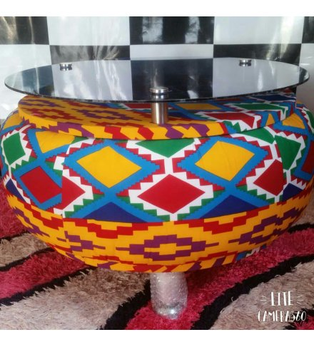 Round Afro Deco Glass Aluminium and Acrylic Africa Cloth Motive 4 stay Coffee Table (USD)