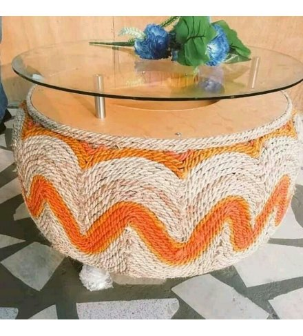 Round Afro Deco Glass and Wood Orange Rope Woven 4 stay Coffee Table (USD)